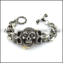 Mens Curb Chain Bracelet with Vintage Sugar Skulls Charm Black Cubic Zirconia Eyes b004133