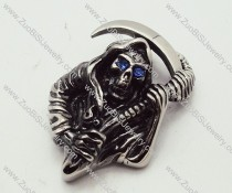 Skull Jewelry of Stainless Steel Death Messenger Pendant with Light Blue Eyes - JP090172