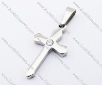 Simple Shiny Stainless Steel Cross Pendant with Clear Rhinestone - JP200010