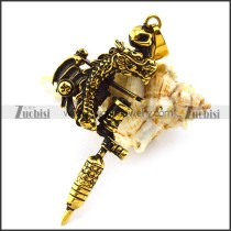 Vintage Gold Dragon Tattoo Pendant p004760