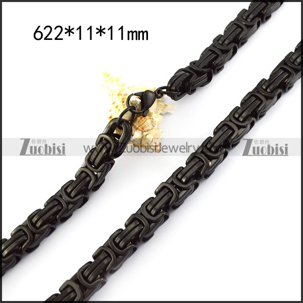 11mm wide black stainless steel chain necklace