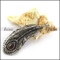 Large Antique Silver Feather Pendant in Stainless Steel p003816