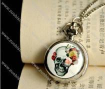 White Epoxy Skull Pocket Watch -PW000239