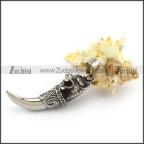 Solid Stainless Steel Wolf Head Tooth Pendant p003773