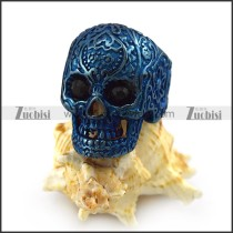 Blue Flower Skull Ring with 2 Faceted Black Rhinestones Eyes r004311