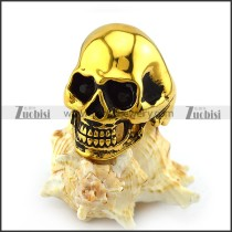 Gold Plating Stainless Steel Skull Ring with 2 Dark Black Rhinestones Eyes r004284