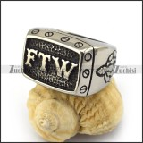Antique Men Stainless Steel FTW Biker Ring Outlaw Middle Finger r003571