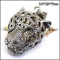 Hollow Stainless Steel Leopard Head Pendant p003428