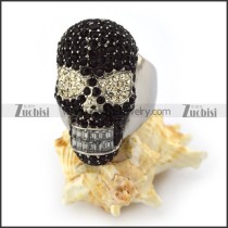 Black and Crystal Rhinestones Skull Ring for Women r003926