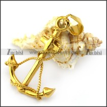 Big Yellow Gold Ship Anchor Pendant p004841