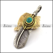 Retro Stainless Steel Feather Penant in Gold and Silver p003039