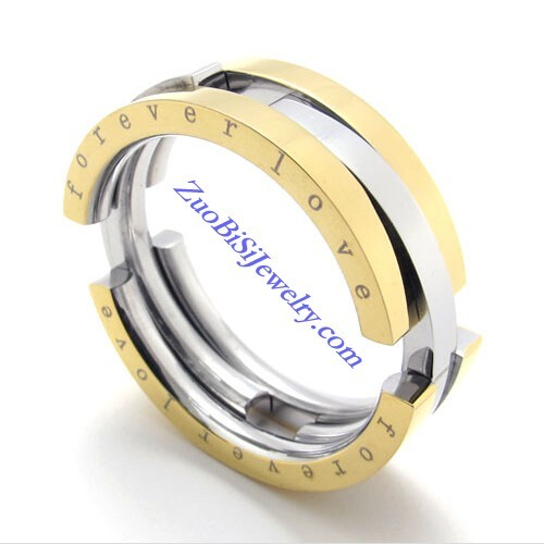 8mm Wide Gold Plating Flexible FOREVER LOVE Rings as Great Valentine Gift for Sweetheart JR430007