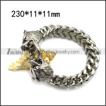 11mm wide square chain bracelet with 2 big stainless steel wolf heads ends b006729