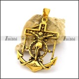 Gold Plated Son of God Anchor Pendant p003020