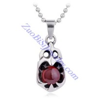 owl pendant with red glass ball JP350039