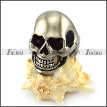 Dull Polish Stainless Steel Skull ring with 2 Dark Black Rhinestone Eyes r004286