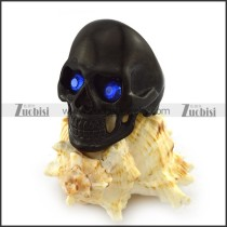 Dark Blue Rhinestones Eyes Black Skull Ring r004297