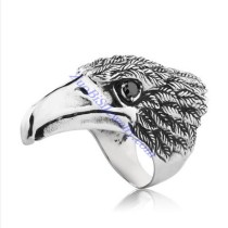 Large Eagle Ring in 316L Steel with Black Rhinestone -JR350233