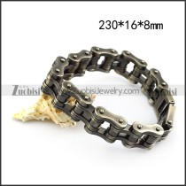 Gun Metal Stainless Steel Bike Chain Bracelet in 16mm Wide b005861