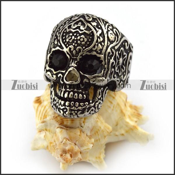 Dark Black Rhinestones Eyes Flower Skull Ring r004301