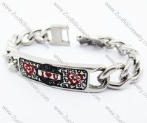 Stainless Steel Tag Bracelet with I LOVE YOU pattern - JB400016