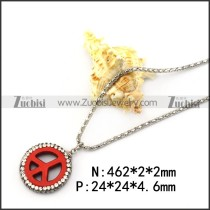 Red Peace Sign Rhinestone Pendant Chain n001740