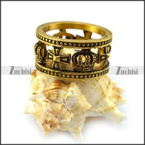 Cross and Crown Hollow Ring in Vintage Gold Plating r004518