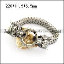 stainless steel wolf head ends bracelets in 11.5mm wide chain b006234