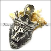 lion king stainless steel hip hop bling pendant p007310