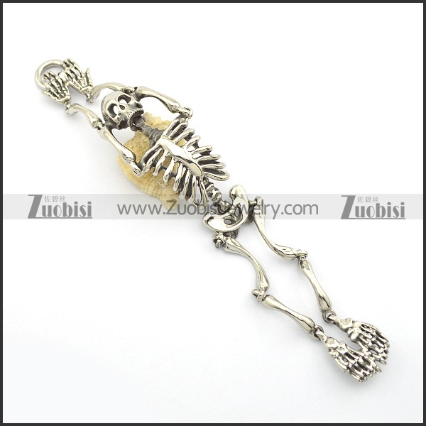 Stainless Steel Human Skeleton Bracelet for Punk Fans in 36mm Wide 21cm Long b003019