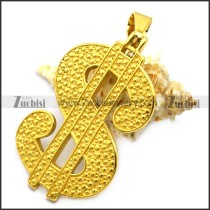 hip hop golden dollar sign stainless steel pendant p007602