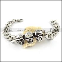 Stainless Steel Skull Biker Bracelet - b000566