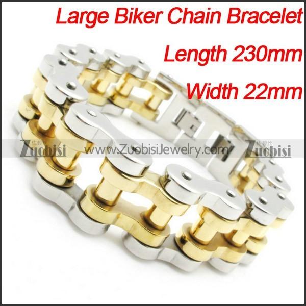Men's Heavy Silver Biker Gold Polishing Biker Chain Bracelet -b000628-11