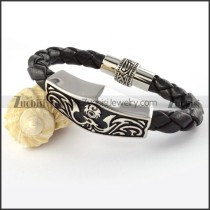 Real Leather Stainless Steel bracelet - b000444