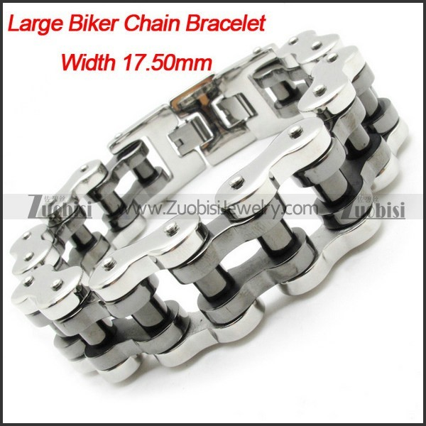 Wholsale Men's Heavy Silver Black Polishing Motorbike Chain Bracelet -b000627-11