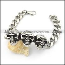 Stainless Steel Skull Biker Bracelet - b000567