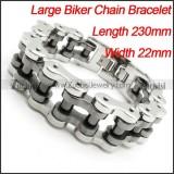 Silver Black Polishing Motorcycle Bike Chain Bracelet -b000627-1