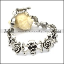 Stainless Steel Skull & Rose Bracelet -b000605