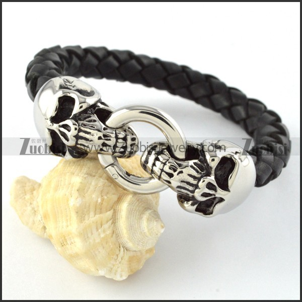 PU Leather Stainless Steel Double Heads Bracelet - b000448