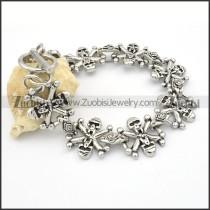 Stainless Steel Skull Flower Bracelet -b000604
