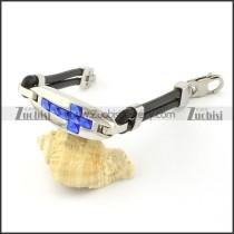 Stainless Steel Blue Cross Bracelet -b000797