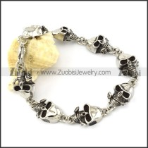 8 Skull Heads 316L Stainless Steel Bracelet with Rose for Bikers -b000916
