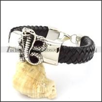 Black Leather Snake Bracelet for Men -b001002