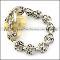 10 Solid Rose Bracelet in Stainless Steel Metal -b001334