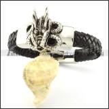 Black Leather Dragon Bracelet for Men -b001001