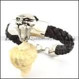 Black Leather Tiger Bracelet for Men -b000999