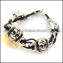 excellent Stainless Steel Leather Bracelet -b001294