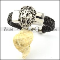 Black Leather Lion Bracelet for Men -b001000