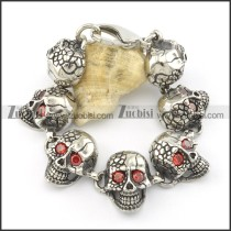 clear red zircon 7 skull heads demon bracelet b001597