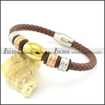 gold,rose gold,silver stainless steel leather bracelet in brown tone b001609